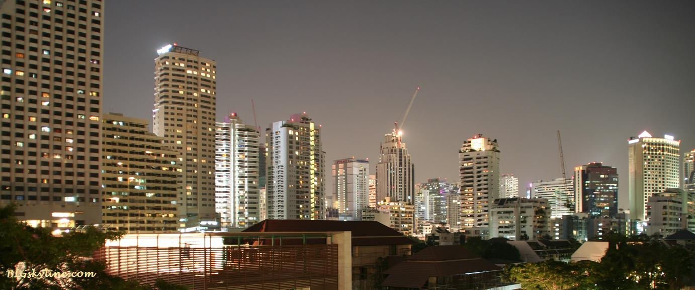 The city of Bangkok's cityscape at night