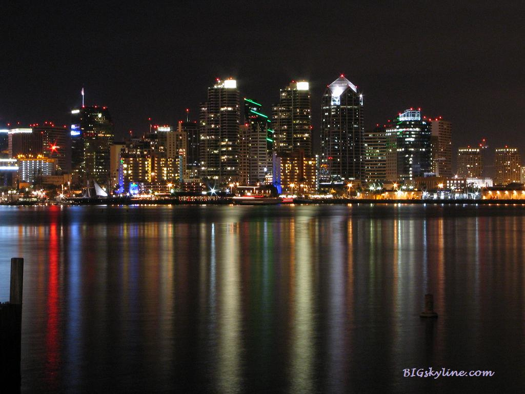 City skyline picture of San Diego, California at night
