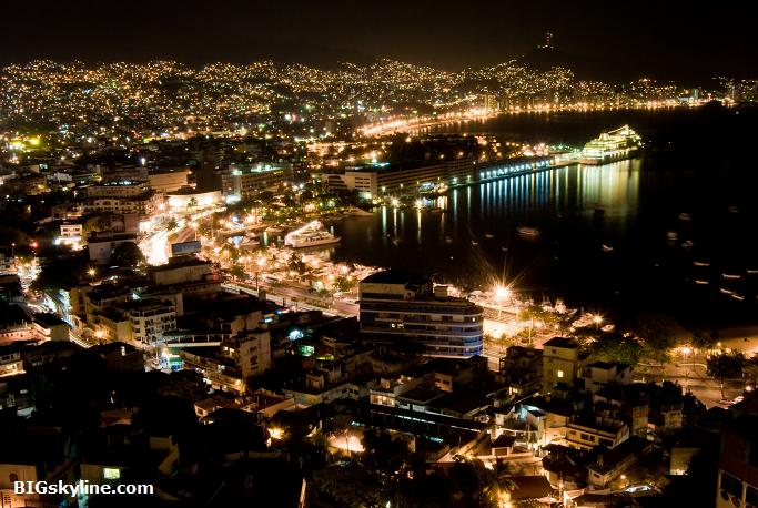 Acapulco at night in Mexico
